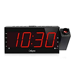 OnLyee Projection Clock with AM/FM Radio, Sleep Timer, Bedroom Desk Wall Ceiling Clock, 7 LED Display, 3 Dimmer, Dual Alarm, USB Charging Port for Travel, Bedrooms, Ceiling, Kitchen, Desk, Shelf