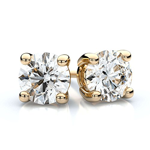0.75 Ct Yellow Diamond (Trillion Designs 10K Yellow Gold 0.75 Ct Round Cut Swarovski Stud Earrings with Screw Back)