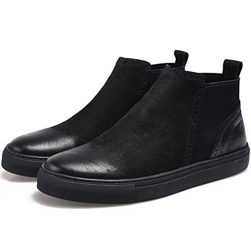 Brock À Bottes Bottes Des Haut Matelassé Hommes Des Martin 40 En La Chaussures Dessus Cuir Sculpté Cuir Cheville Rétro En Black Fx6qP8x