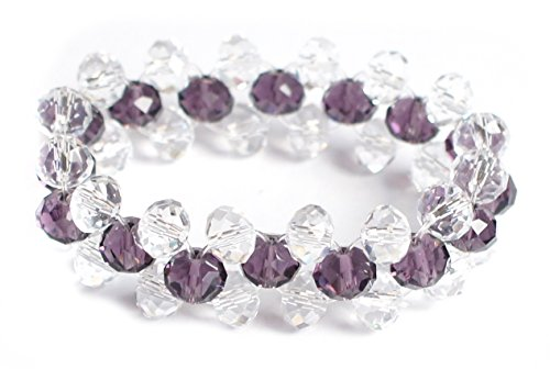 [Petite Dark Purple and Clear Faceted Austrian Crystal Beaded Stretch Bracelet] (Las Vegas Showgirl Costume)