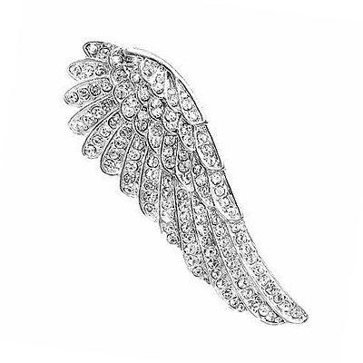 Treend24 Flügel Engel Zirkonia Silber Magnet Brosche Strass Schal Clip Bekleidung Magnetbrosche Poncho Taschen Stifel Textilschmuck Eule Herz stern