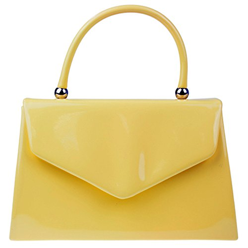 fi9? BNWT Retro Tote Patent Leather Bridal Wedding Evening Handbag Party Purse Clutch Shoulder Hand Bag Yellow