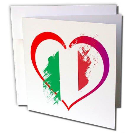 3dRose Sven Herkenrath Flags - Italian Flag inside a Heart on White Background Trendy Work - 12 Greeting Cards with envelopes (gc_255852_2) -