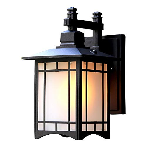CHAI Wall Light Nordic Outdoor Wall Lamp Waterproof Square Creative Lighting Staircase Door Aisle Balcony Outdoor Garden Lamp (Color : Black)