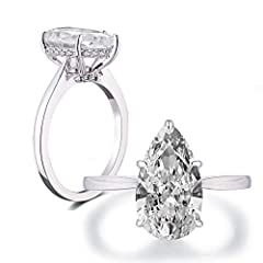 Pear Shaped Solitaire Engagement Ring This stunning ring featuring 4.0ct pear cut cubic zirconia in the center. This ring is crafted in pure .925 sterling silver, Rhodium plating added to shine and durablityProduct Information:  -Ring Size: U...