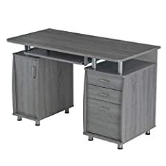 This Techni Mobili Desk is a complete workstation offering an ample work surface and plenty of storage space. It features an accessory shelf atop a storage cabinet, a keyboard panel equipped with a safety stop, 2 drawers and a file cabinet. T...