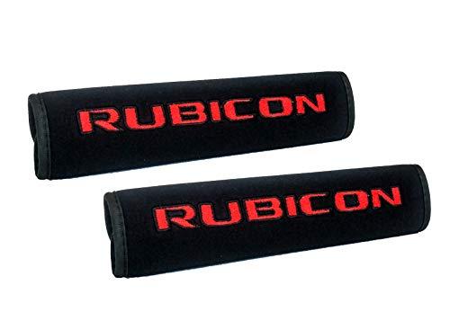 OZ-USA Red Rubicon Logo for Jeep Wrangler JK JKU Black Neoprene Automotive Seat Belt Covers Safety Cushion Shoulder Pad Travel Bag Straps