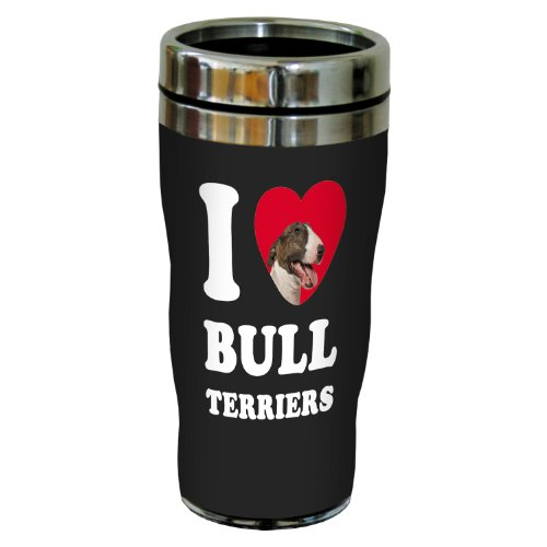 Bull Terrier Mug (Tree-Free Greetings SG25023 I Heart Bull Terriers Sip 'N Go Stainless Lined Travel Tumbler, 16-Ounce, Brown and White)