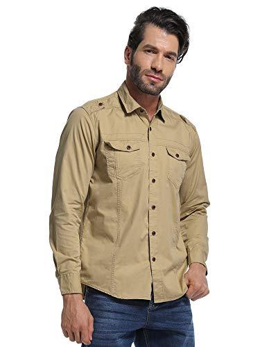 Shirts Khaki Military (Men's Long Sleeve Military Style Tactical Shirt, Cargo Work Tops Khaki M)
