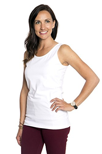Tank Top For Women Wide Strap Comfortable Layering Shirt Dressy Or Active Wear (White, M)