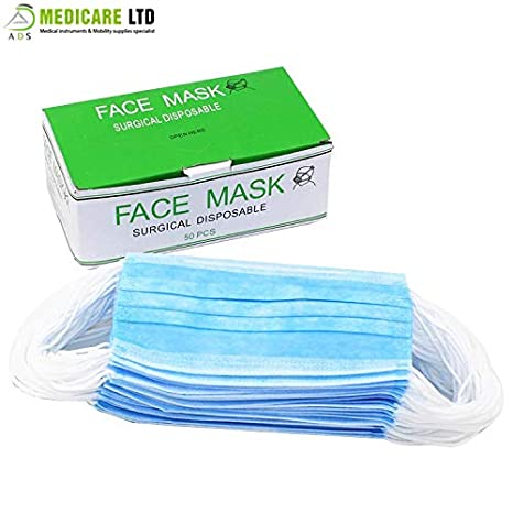 3 With Pack Masks Ply Surgical blue Earloop 50 Of Face