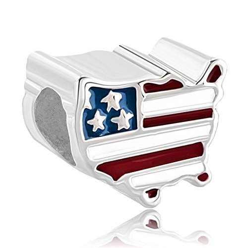 Map Usa Sterling Silver Charm - Q&Locket 925 Sterling Silver Travel Charms American USA Flag Map Charm for Bracelet