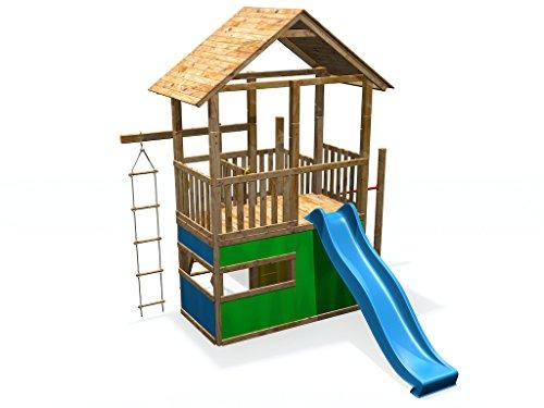 Xxl Klettergerüst 2 4m Kletterturm Mit Kletternetz Reckstange Kletterwand Leiter : Spielturm xxl mit rutsche spielhaus reck strickleiter