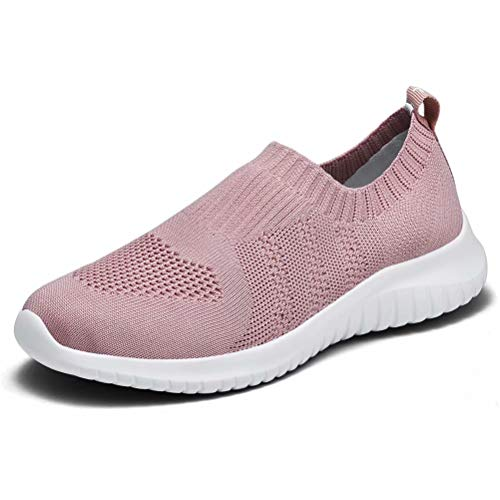 konhill Women's Walking Tennis Shoes - Lightweight Athletic Casual Gym Slip on Sneakers 12 US Mauve,44