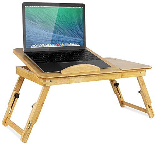 Mount-It! Laptop Bed Tray with Tilting Top and Pullout Storage Drawer | Adjustable Breakfast Table with Foldable Design | Eco-Friendly and Natural Bamboo (MI-7212)