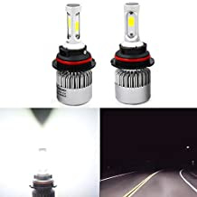 Alla Lighting Extremely Super Bright High Power COB Chipset HB5 9007 9007LL LED Headlight Bulbs w/8000Lm 6500K Xenon White for Replacing High Low Beam Halogen Headlamp All-in-One Conversion Kits