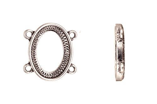 Links Antique-Silver Plated Oval 2X2 Loop Bezel Cup Setting 18.8X20.27mm Fits 17X12mm Cabochon sold per 4Pcs/Pack (3Pack Bundle), Save $2