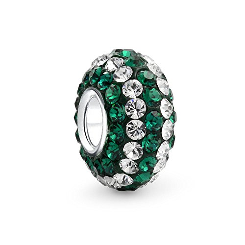 - Green White Striped Crystal Spacer Charm Bead For Women For Teen Fits European Charm Bracelet Core 925 Sterling Silver