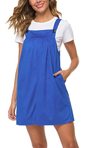 Missufe Women's Adjustable Strap Casual Loose Midi Overall Dress Pockets (Royal Blue, X-Large)