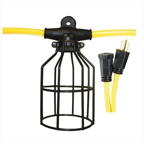 Voltec 08-00198 12/3 SJTW 10-Light Metal Cage Light String, 100-Foot, Yellow & Black by Voltec