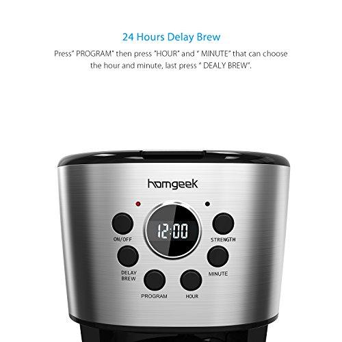Homgeek 12-Cup Coffee Maker Programmable Drip Coffee Machine...