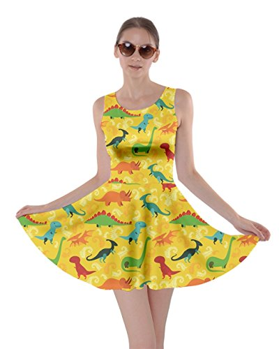 CowCow Womens Yellow Cartoon Dinosaur Skater Dress, Yellow Dinosaur - XL -