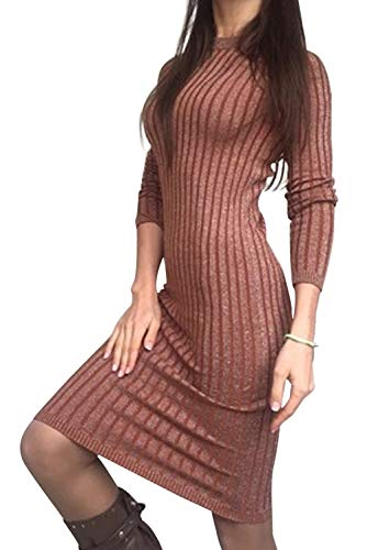 Donna Semplice Vestito Ragazza Mini Marrone Tumblr Invernali Manica Zzls Abito Tinta BienBien Knit Pullover Maglione Casual Magliette Lunga Maglia Unita Yqt0pI
