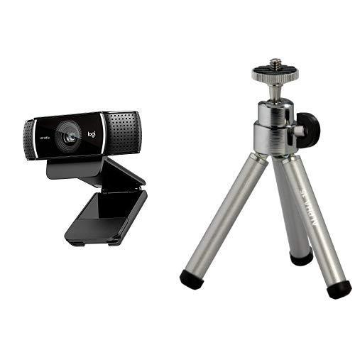 Logitech C920 HD Pro Webcam, Videochiamate e Registrazione Full HD 1080p con 2 Microfoni con Audio S + Cullmann Alpha 15 Mini Treppiede, Grigio autofocus camera cheap fullHD photo