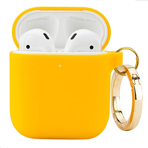 (DamonLight Premium Silicone Airpods Case with Carabiner[Front LED Visible][with no Hinge] Full Protective Cover Skin Compatible with Apple Airpods 1&2)