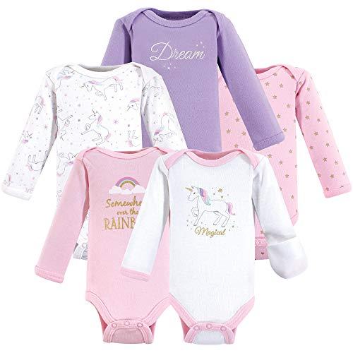 Hudson Baby Baby Preemie Bodysuit, 5 Pack, Unicorn Long Sleeve, 5-Pack, (P)