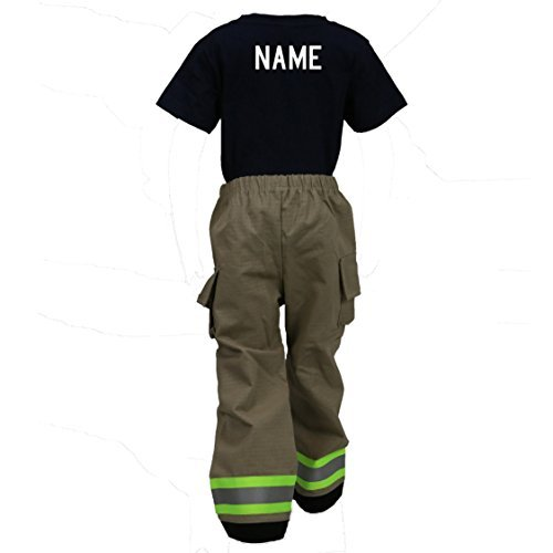Fully Involved Stitching Personalized Firefighter Toddler Tan 2-Piece Outfit (4T)