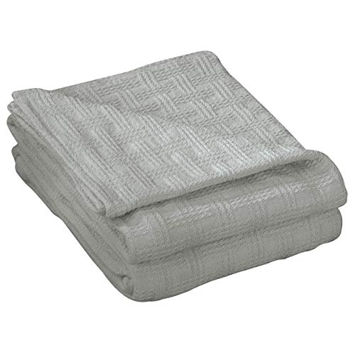 OakRidge Ada Lightweight Cotton Blanket, King Size - Machine Washable 100% Cotton Blanket for Bedding or Sofa Throw, Textured Checker Gray Pattern with Breathable Fabric