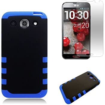[SlickGears] Heavy Duty Impact Protection Armor Case for LG Optimus G Pro E980 (AT&T) + Premium Screen Protector + SG SoftTouchTM Stylus Combo (Blue Type II)