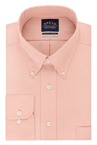 Eagle Men's Non Iron Stretch Regular Fit Solid Buttondown Collar Dress Shirt, Sunset, 16'' Neck 34''-35'' Sleeve by New Eagle