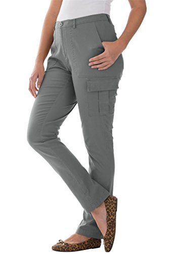 Jessica London Women's Plus Size Stretch Cotton Twill Cargo Pants Slate,28