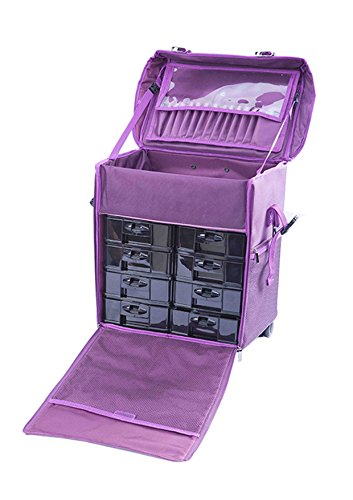 Professional Makeup Artist 2 in 1 Rolling Makeup Train Case Cosmetic Organizer Soft Trolley w Storage Drawers Metal Buckles Purple Fabric