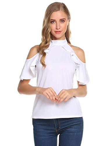 - Concep Women's Short Sleeve T Shirt Cold Shoulder Top Ruffle Shirt Halter Neck Blouse White L