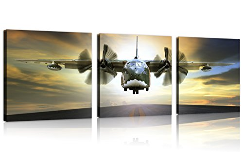 ne Wall Art Vintage Airplane Decor Airplane at Sunset Old Paper Airplane Pictures Canvas Airplane Wall Art Stretched and Framed Aircraft Pictures Artwork for Home Decor,3 pcs/set ()