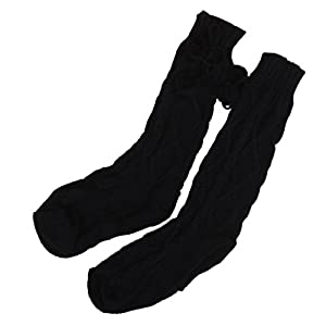 YJYdada Women Knitted Long Boot Socks Over Knee Thigh High Stocking (Black)