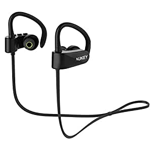 AUKEY Bluetooth Headphones, Wireless Stereo Earbuds with Sweatproof, 5 Hours Playtime, Built-in Mic for Running, Gym, Yoga