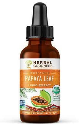 Papaya Leaf Liquid Extract Juice - Natural Blood Platelet Boost, Bone Marrow, Immune Gut, Digestive Enzyme - 100% Organic Non-GMO Verified Kosher - 1oz Glass Bottle - Made in USA by Herbal Goodness