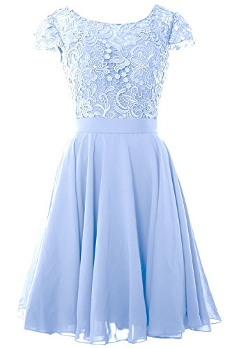Brautjunfer AbendKleid Rüschen Kurz Abschlussball Spitze Damen und Beonddress Hellblau Kleid Chiffon FwPIqFnT