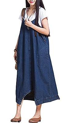 IDEALSANXUN Women's Loose Plus Size Baggy Casual Overalls Jumpsuits Wide Leg Pants Dress