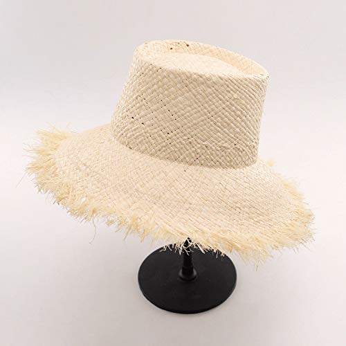 ALWLj Bucket Hats Sun Hat for Women Raffia Straw Boater Hats Vintage Style Summer Hats with Frayed Edges