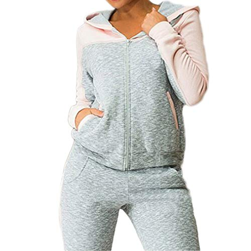 Two-Piece Tracksuit Jogging Suits for Women Sport Suits Patchwork Hooded Running Sets Sweat Pants,Pink,XL
