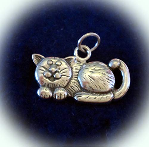 Sterling Silver 22x14mm Looks Like a Fat Cheshire Cat Charm! concave Back Vintage Crafting Pendant Jewelry Making Supplies - DIY for Necklace Bracelet Accessories by CharmingSS