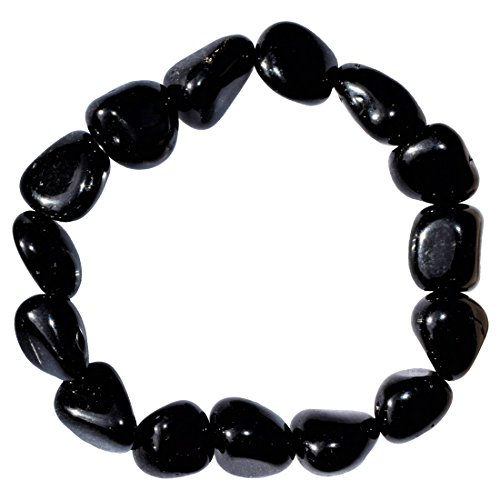 Zenergy Gems Charged Natural Black Obsidian Crystal Bracelet Tumble Polished Stretchy Healing Energy/GROUNDING/Grieving Bracelet Reiki