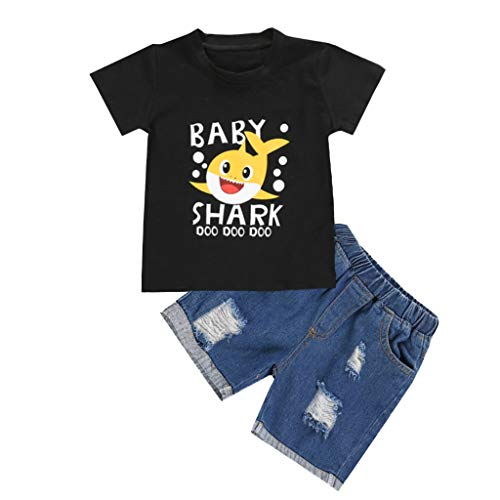 Newborn Toddler Boy Clothes Baby Shark 2Pcs Summer Cotton T-Shirt + Denim Short Clothes Outfit Set (2-3 Years, Shark 1)]()