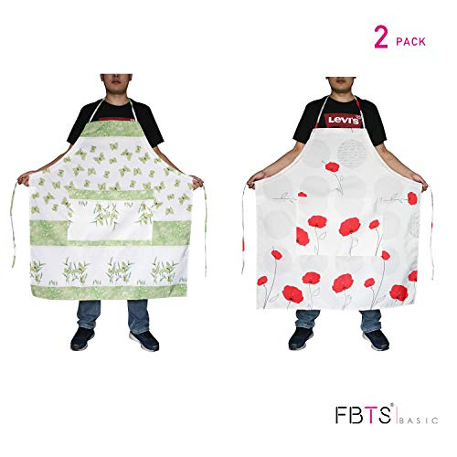 - FBTS Basic Plus Size Aprons 2 Packs Adjustable Height with Extra Long Tie Two Big Front Pocket Water Resistant Oversized For Women And Men