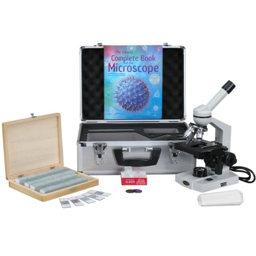 AmScope M600C-AC-CM-PS100E-50P100S Compound Monocular Microscope, WF10x and WF25x Eyepieces, 40x-2500x Magnification, Brightfield, Tungsten Illumination, Abbe Condenser, Mechanical Stage, 110V, Includes Set of 100 Prepared Slides, 50 Blank Slides, 100 Cov by AmScope